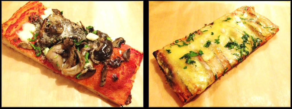 deux parts de pizza: une aux champignons et une autre aux courgettes