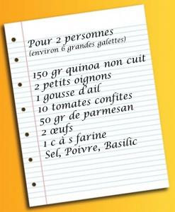 Liste des courses galettes quinoa